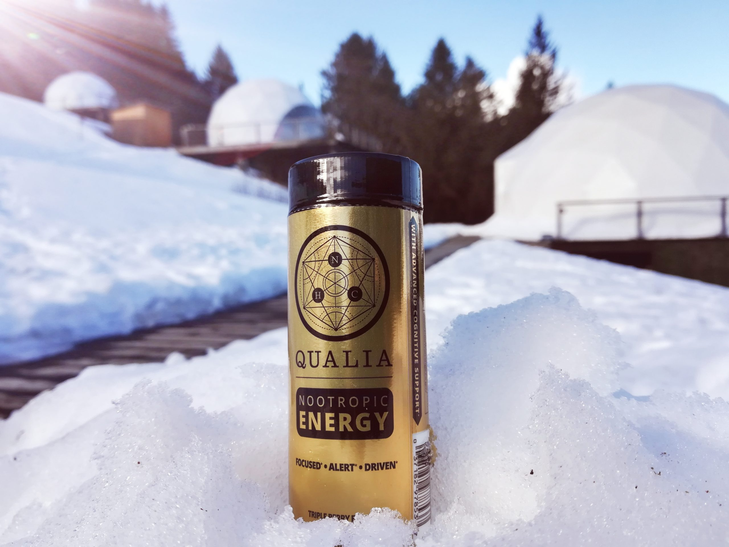 Bottle of Qualia Nootropic Energy Shot in the snow